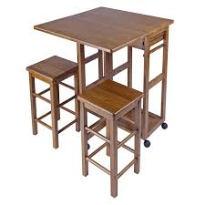 Space Saver Dining Table And Chairs Winsome Space Saver 3 Piece Small Table With 2 Nesting Stools