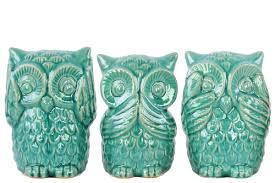 charlton home ceramic owl no evil 3 piece figurine set u0026 reviews