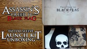 assassin u0027s creed black flag tattoo sleeve launch kit unboxing