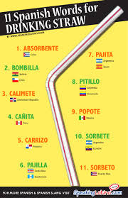 11 spanish words for drinking straw infographic