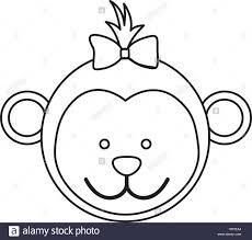 monkey ribbon figure monkey ribbon bow stock vector illustration