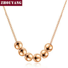 charm necklace with beads images Small bead ball rose gold color pendant necklace jewelry cz jpg