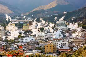 japanese town japanese town of beppu has 3 000 volcanic spring vents daily mail