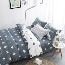 bedding sets black and white star print 100 cotton twin double