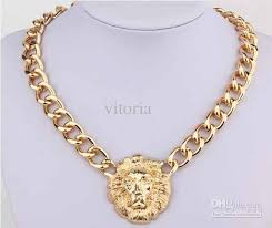 lady gold necklace images Fashion women punk vintage gold wide chain lion head queen avatar jpg