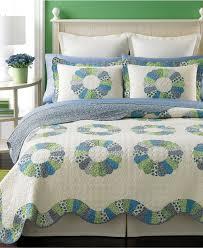 Ivory Quilted Bedspread Martha Stewart Rondelle Quilted Standard Sham Ivory Blue Green