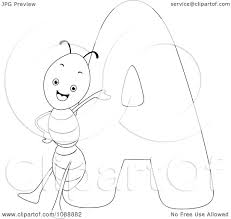 clipart outlined a is for ant coloring page royalty free vector
