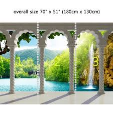 Fabric Wall Murals by Wall Mural Waterfall In Deep Forest Arch Structure Peel And Stick