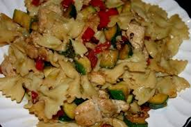 bowtie pasta zucchini and chicken with a chive blossom lemon