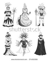 set six vector characters venice carnival stock vector 574302268