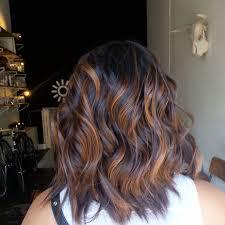 stunning cinnamon balayage for layered espresso brown hair