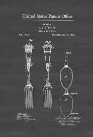 Chef Kitchen Decor by 1881 Victorian Spoon And Fork Patent Kitchen Decor Restaurant