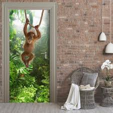 3d forest monkey door wall stickers bedroom home decor poster pvc 3d forest monkey door wall stickers bedroom home decor poster pvc waterproof door sticker 77x200cm room decor wall stickers room decoration stickers from