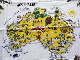 World Map Tablecloth by Vintage Australian Tablecloth 31