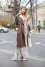 with a pretty maxi dress and a long leather coat how to wear