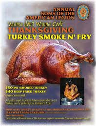 sons of the american legion thanksgiving turkey smoke fry