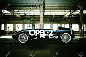 side view of the opel rak 2 rocket car oldtimer in an old