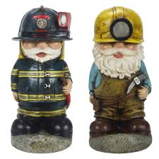 solar gnomes fireman with hose and miner with pick axe