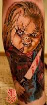 bloodthirsty chucky movie horror tattoo on leg tattoos book