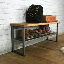 industrial rustic hallway shoe storage rack bench made to order