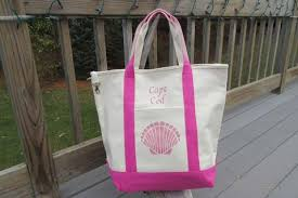 nautical tote nautical cape cod canvas tote bag two tone and pink