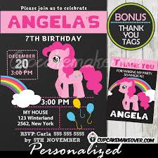 pink little pony birthday invitation chalkboard personalized d7