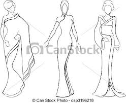 sketch of women in traditional asian dresses a vector vector