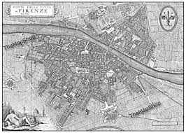 Florence Italy Map Vintage Florence Italy Street Map Black And White Print
