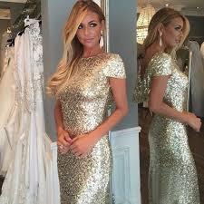 gold bridesmaid dresses sheath bateau sleeves light gold sequined bridesmaid dress