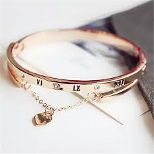 rose gold love heart bracelet images New trendy rose gold color roman numerals bracelets statement love jpg