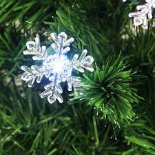 3 pre lit color changing fiber optic tree with snowflakes