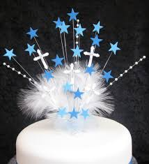 communion cake toppers large holy communion boys cake topper blue pearls and