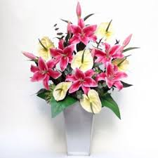 Artificial Lilies In Vase Artificial Flowers Online Shopping Site For Customized Cakes