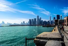 chicago illinois town river michigan skyscraper summer sky