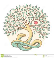 tree of the knowledge of and evil with snake and apple