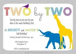 noah u0027s ark twin birthday invitation giraffe elephant twins