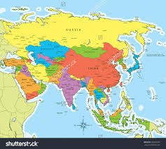 Map Of Asia Quiz by Map Vector Illustration Of Asia Map With Countries In Different