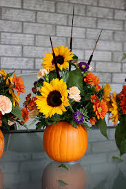 pumpkin flower arrangement thanksgiving centrepiece at