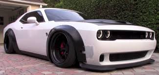 ricer cars dodge challenger hellcat gets liberty walk kit and air suspension