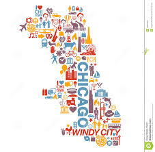 City Of Chicago Map by Chicago Illinois City Icons And Attractions Map Stock Vector