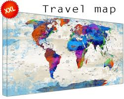 Large World Map Canvas by Personalized World Travel Map Canvas Art Print Large Wall Art