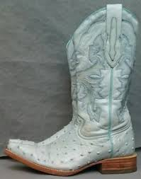 womens boots size 4 light blue boots size 4 ostrich leather cowboy big