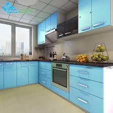 self adhesive wallpaper blue 60cmx3m kitchen cabinet renovation stickers blue diy decorative