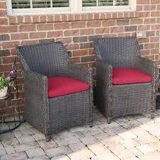 Wicker Patio Lounge Chairs Sea Island Wicker Patio Lounge Chair Set With Red Cushion Set Of