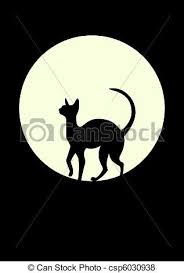 silhouette of a black cat against the moon vector search clip