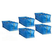 ikea 5 x large blue frakta zippered tote storage laundry bag free
