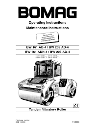 bomag roller bw202ad 4 operation manual switch