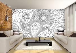 paisley black u0026 white custom wallpaper mural print by jw