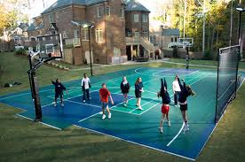 backyard basketball court installation home outdoor decoration