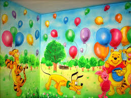 Amusing Wall Painting Design For Kids Bedroom With Brown Paint - Wall paint for kids room